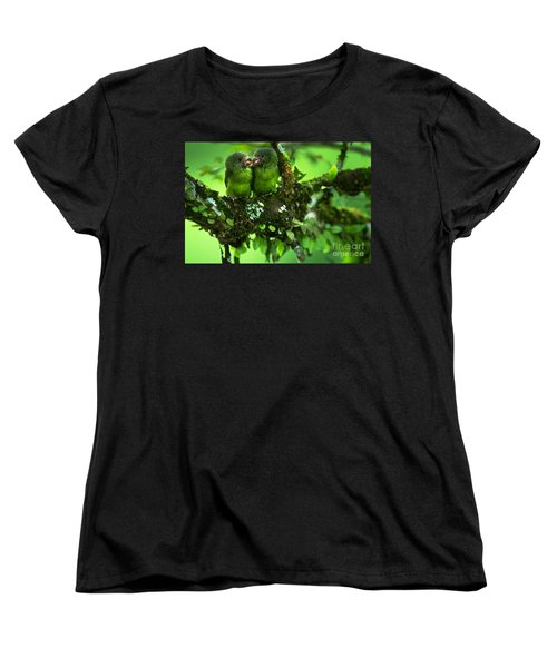 Cobalt-winged Parakeets Women's T-Shirt (Standard Cut) by Art Wolfe