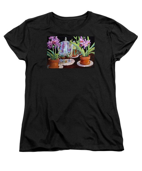 Women's T-Shirt (Standard Cut) featuring the painting Coffee And Flowers by Roger Rockefeller