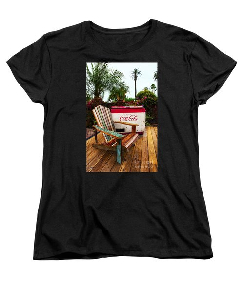 Women's T-Shirt (Standard Cut) featuring the photograph Vintage Coke Machine With Adirondack Chair by Jerry Cowart