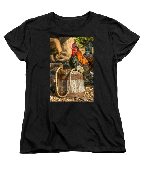 Coloful Rooster 2 Women's T-Shirt (Standard Cut) by Mary Almond