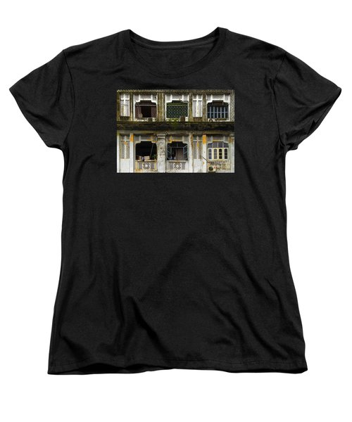 Colonial Facade Bo Soon Pat Street 8th Ward Central Yangon Burma Women's T-Shirt (Standard Cut) by Ralph A  Ledergerber-Photography