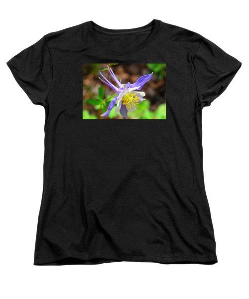 Colorado Blue Columbine Flower Women's T-Shirt (Standard Cut) by Marilyn Burton