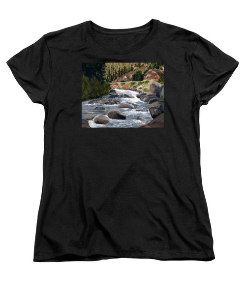 Women's T-Shirt (Standard Cut) featuring the painting Colorado Rapids by Jamie Frier