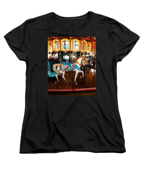 Women's T-Shirt (Standard Cut) featuring the photograph Colorful Carousel Horse by Jerry Cowart