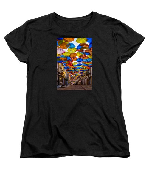 Colorful Floating Umbrellas Women's T-Shirt (Standard Cut) by Marco Oliveira