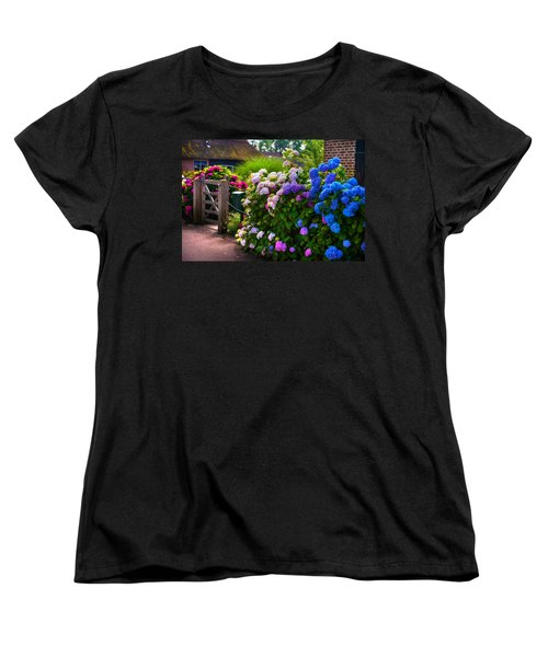 Colorful Hydrangea At The Gate. Giethoorn. Netherlands Women's T-Shirt (Standard Cut) by Jenny Rainbow