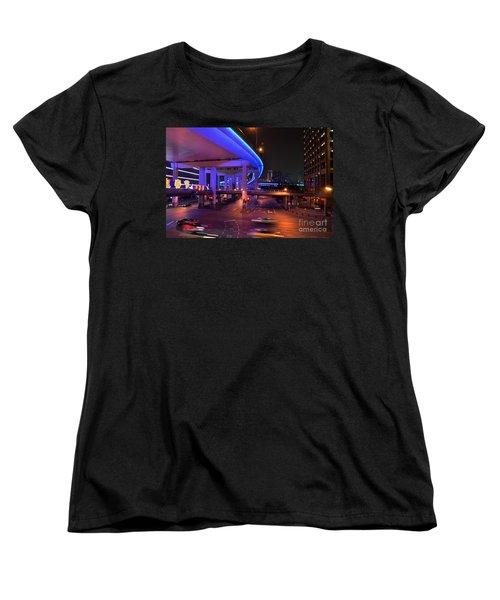 Colorful Night Traffic Scene In Shanghai China Women's T-Shirt (Standard Cut) by Imran Ahmed
