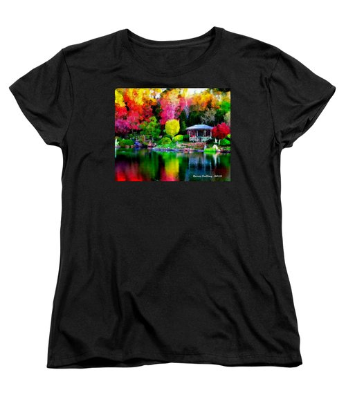 Women's T-Shirt (Standard Cut) featuring the painting Colorful Park At The Lake by Bruce Nutting