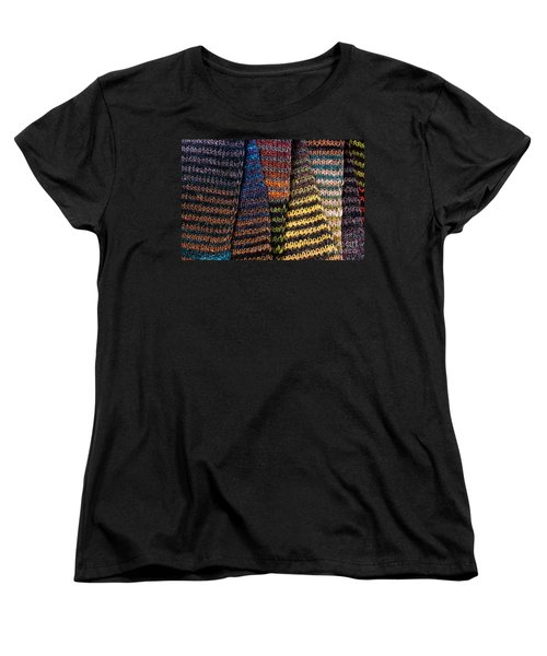 Women's T-Shirt (Standard Cut) featuring the photograph Colorful Scarves by Les Palenik