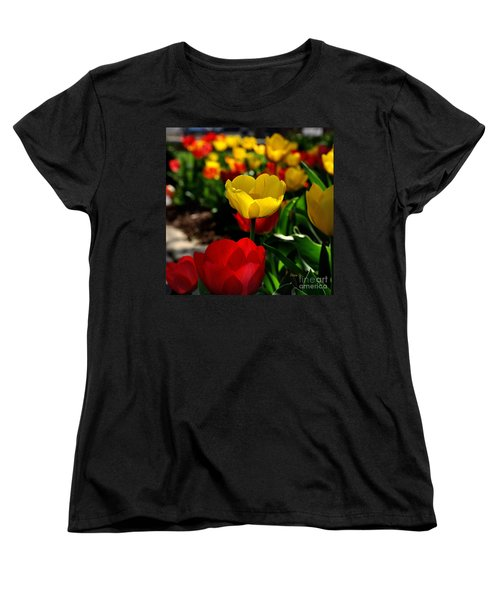 Colorful Spring Tulips Women's T-Shirt (Standard Cut) by Nava Thompson
