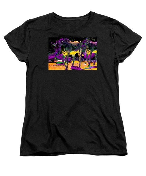 Colourful Zebras  Women's T-Shirt (Standard Cut) by Aidan Moran