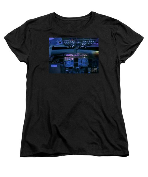 Commercial Airplane Cockpit By Night Women's T-Shirt (Standard Cut) by Gunter Nezhoda