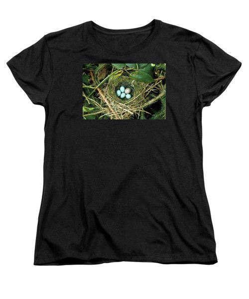 Common Cuckoo Cuculus Canorus Egg Laid Women's T-Shirt (Standard Cut) by Jean Hall