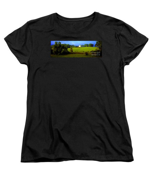 Women's T-Shirt (Standard Cut) featuring the photograph Conley Road Farm Spring Time by Tom Jelen