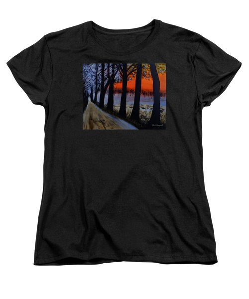 Conrad Road Sunrise Women's T-Shirt (Standard Cut) by Dick Bourgault