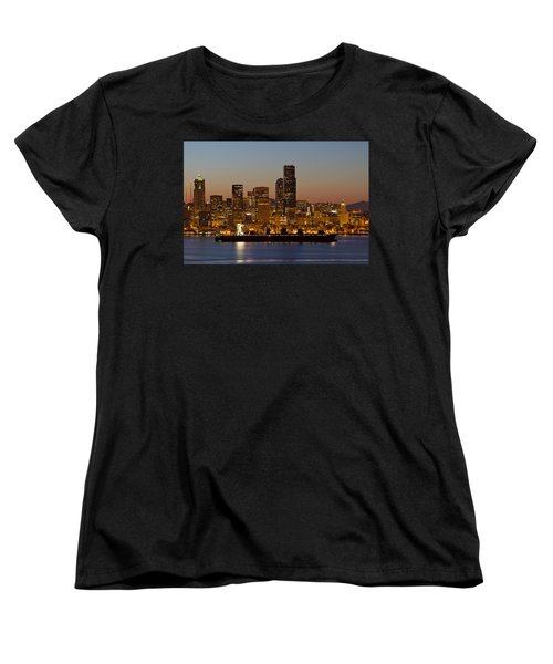 Women's T-Shirt (Standard Cut) featuring the photograph Container Ship On Puget Sound Along Seattle Skyline by JPLDesigns