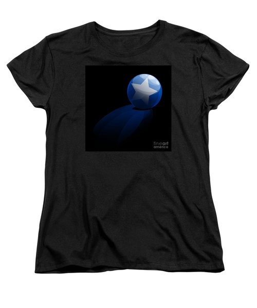 Women's T-Shirt (Standard Cut) featuring the digital art Blue Ball Decorated With Star Grass Black Background by R Muirhead Art