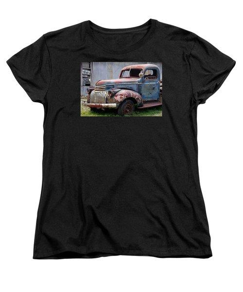 Women's T-Shirt (Standard Cut) featuring the photograph Cool Blue Chevy by Steven Bateson