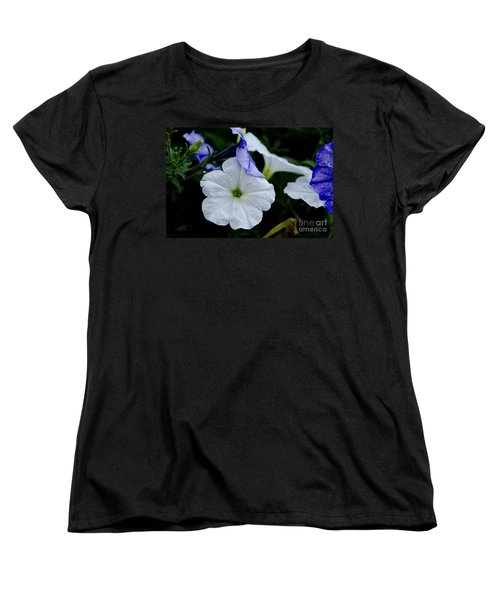 Women's T-Shirt (Standard Cut) featuring the photograph Cool Summer Petunias by Wilma  Birdwell