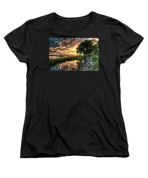 Coosaw Plantation Sunset Women's T-Shirt (Standard Cut) by Scott Hansen