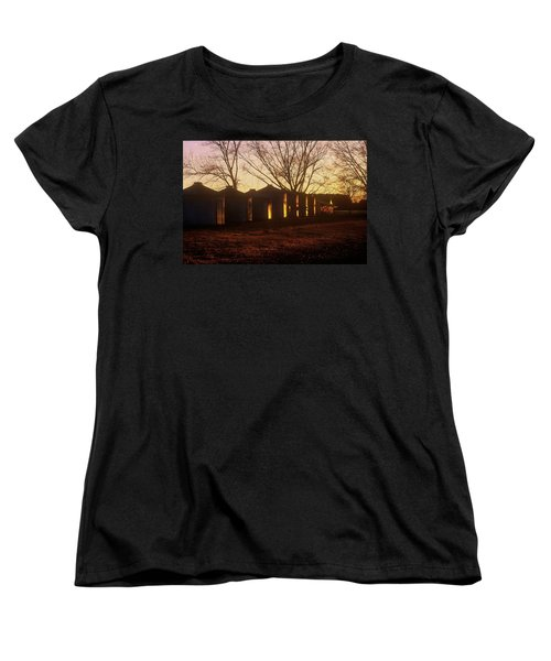 Women's T-Shirt (Standard Cut) featuring the photograph Corn Cribs At Sunset by Rodney Lee Williams