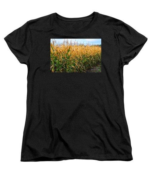 Women's T-Shirt (Standard Cut) featuring the photograph Corn Harvest by Terri Gostola