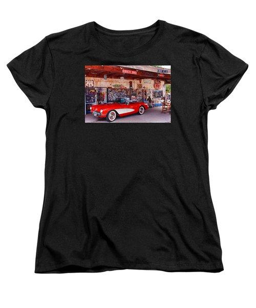 Corvette Drive Rt 66 Women's T-Shirt (Standard Cut) by Fred Larson