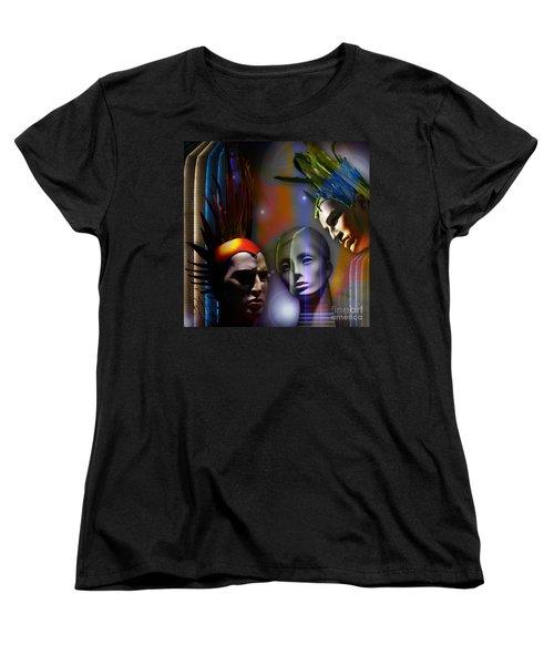 Women's T-Shirt (Standard Cut) featuring the digital art Cosmic Mannequins Triad by Rosa Cobos