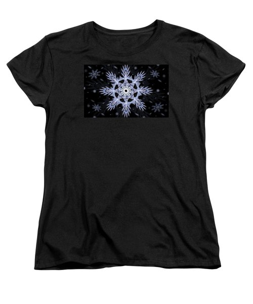 Women's T-Shirt (Standard Cut) featuring the digital art Cosmic Snowflakes by Shawn Dall