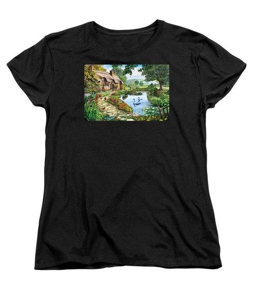Cottage By The Lake Women's T-Shirt (Standard Cut) by Steve Crisp