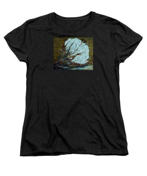 Cotton Boll On Wood Women's T-Shirt (Standard Cut) by Eloise Schneider