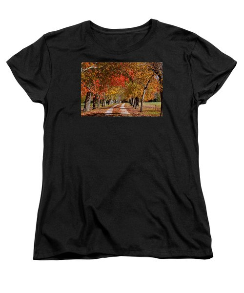 Women's T-Shirt (Standard Cut) featuring the photograph Country Lane In Autumn by Jerry Gammon