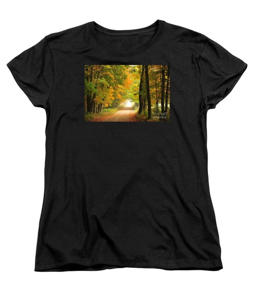 Women's T-Shirt (Standard Cut) featuring the photograph Country Road In Autumn by Terri Gostola