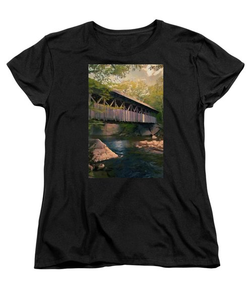 Women's T-Shirt (Standard Cut) featuring the painting Covered Bridge by Jeff Kolker