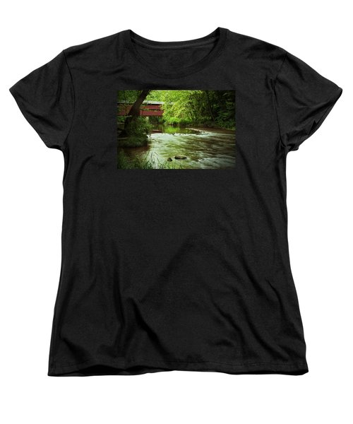 Covered Bridge Over French Creek Women's T-Shirt (Standard Cut) by Michael Porchik