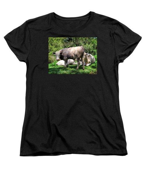 Women's T-Shirt (Standard Cut) featuring the photograph Cow 5 by Dawn Eshelman
