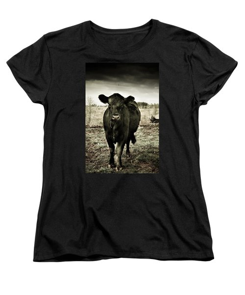 Cow In The Winter Pasture  Women's T-Shirt (Standard Cut) by Gray  Artus