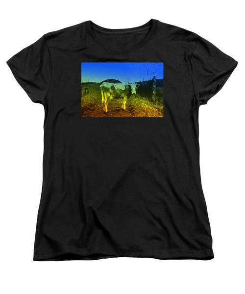 Women's T-Shirt (Standard Cut) featuring the digital art Cow On Lsd by Cathy Anderson