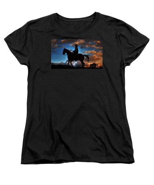 Women's T-Shirt (Standard Cut) featuring the photograph Cowboy Silhouette by Ken Smith