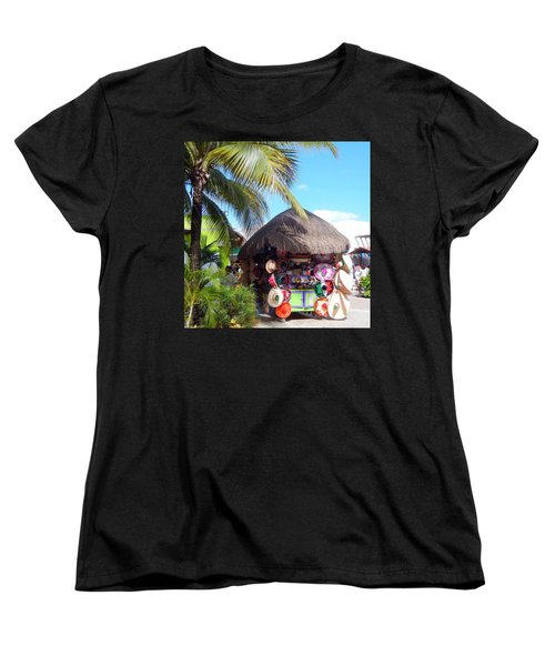 Women's T-Shirt (Standard Cut) featuring the photograph Cozumel Souvernir Shopping by Debra Martz