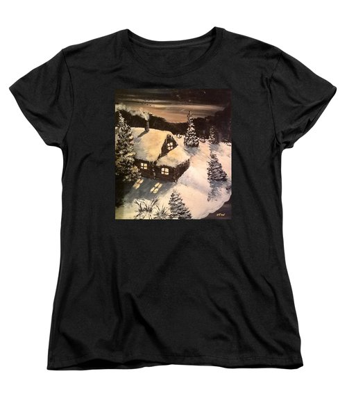 Women's T-Shirt (Standard Cut) featuring the painting Cozy Cabin by Megan Walsh