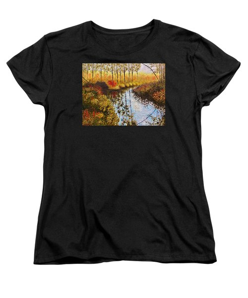 Women's T-Shirt (Standard Cut) featuring the painting Cranberry Bog by Jason Williamson