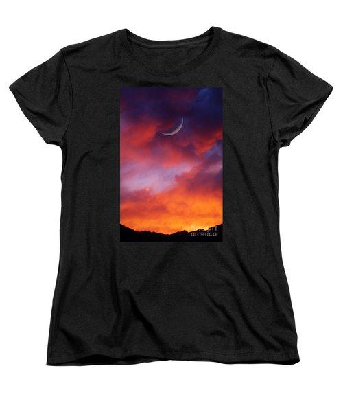 Women's T-Shirt (Standard Cut) featuring the photograph Crescent Moon In Purple by Joseph J Stevens