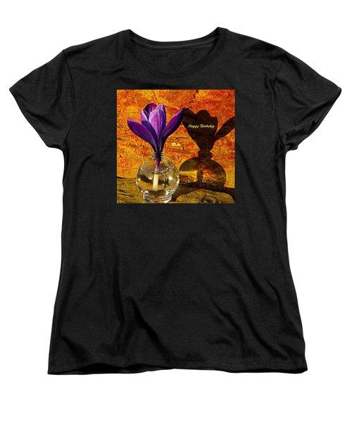 Crocus Floral Birthday Card Women's T-Shirt (Standard Cut)