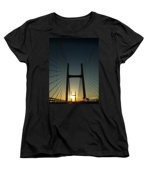 Women's T-Shirt (Standard Cut) featuring the photograph Crossing The Severn Bridge At Sunset - Cardiff - Wales by Vicki Spindler
