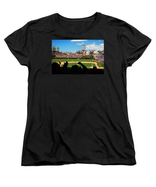 Women's T-Shirt (Standard Cut) featuring the photograph Cubs Win by James Kirkikis