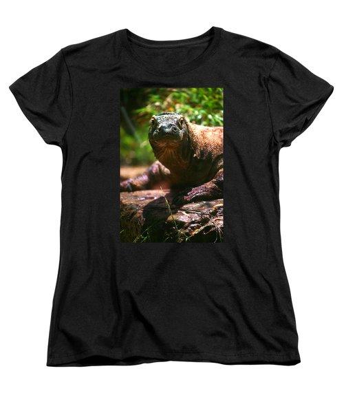 Curious Komodo Women's T-Shirt (Standard Cut) by Lon Casler Bixby