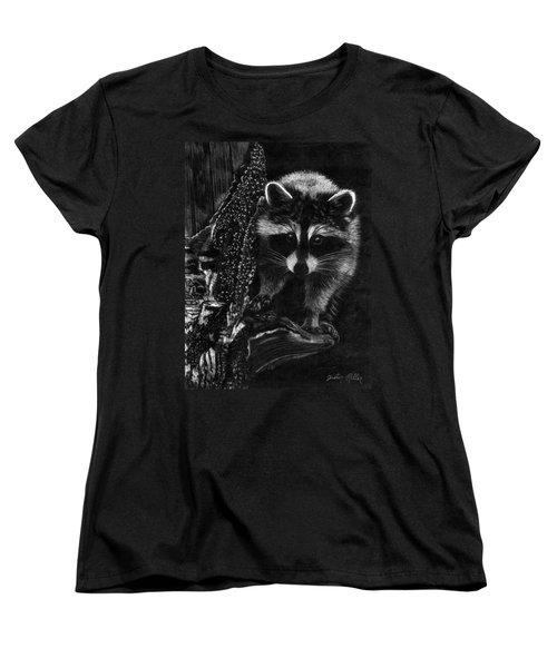 Curious Raccoon Women's T-Shirt (Standard Cut) by Dustin Miller