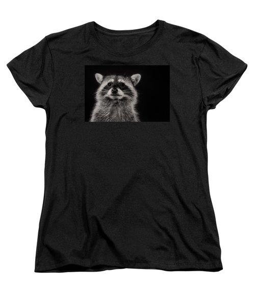 Curious Raccoon Women's T-Shirt (Standard Cut) by Linda Villers