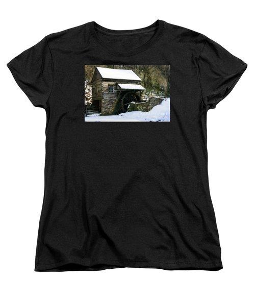 Women's T-Shirt (Standard Cut) featuring the photograph Cuttalossa Farm In Winter by Debra Fedchin